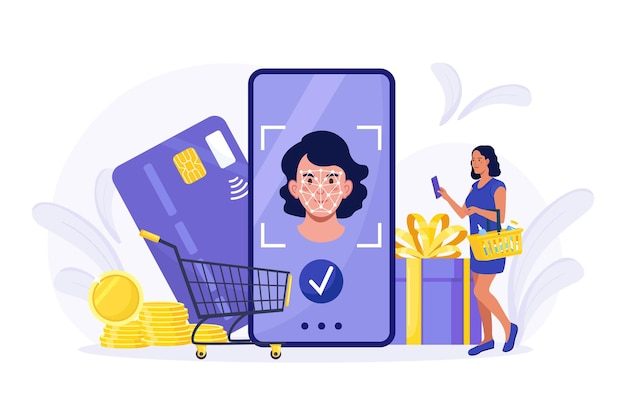 Femme utilisant la technologie de reconnaissance faciale pour le paiement. la fille utilise l'application d'identification biométrique faciale pour se connecter au système et acheter. système de sécurité d'identification de smartphone. clients achetant en ligne