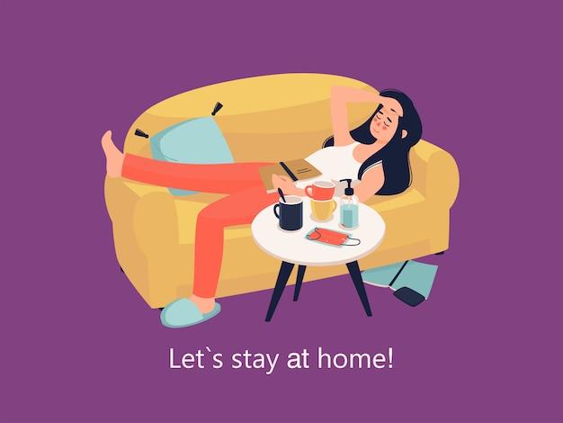 Femme de vecteur se trouve sur le canapé avec livre à la maison et texte restez à la maison!