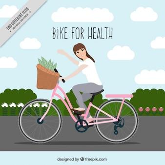 Femme sur un vélo de fond mignon