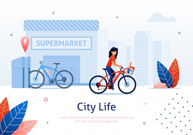 Femme, vélo, supermarché, bannière