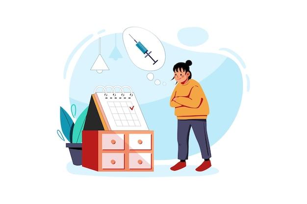 Femme vérifiant le calendrier des vaccins