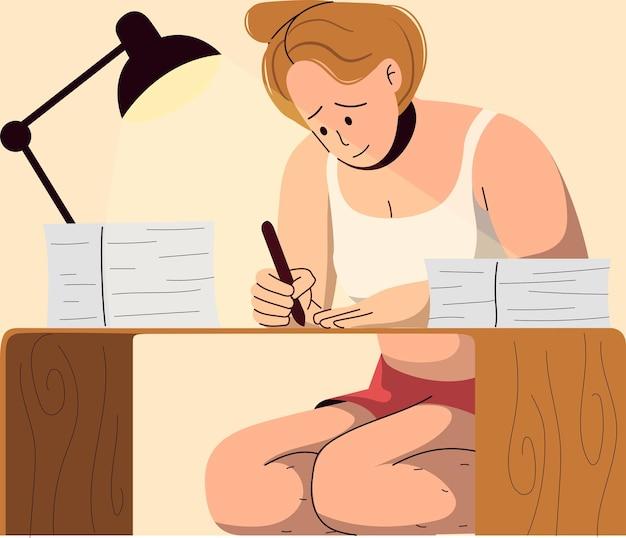Femme en vêtements décontractés étudiant ou travaillant à domicile