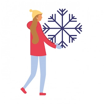 Femme, vêtements hiver, flocon neige