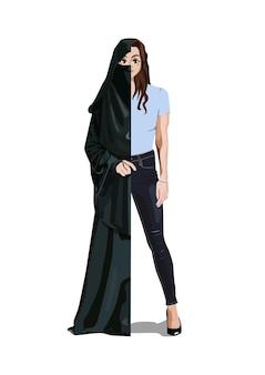 Une femme vêtue à moitié d'un voile musulman et à moitié d'un jean et d'un t-shirt
