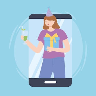 Femme vidéo smartphone fête en ligne avec illustration vectorielle cadeau et boisson
