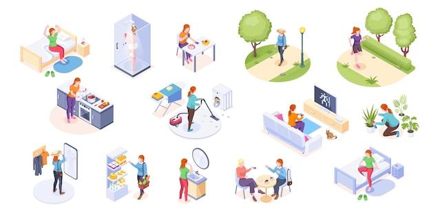Femme vie quotidienne activité de routine à domicile isométrique