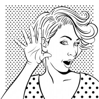 Femme avec visage surpris écoute
