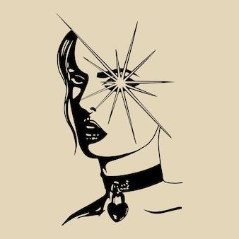 Femme vision main dessin illustration