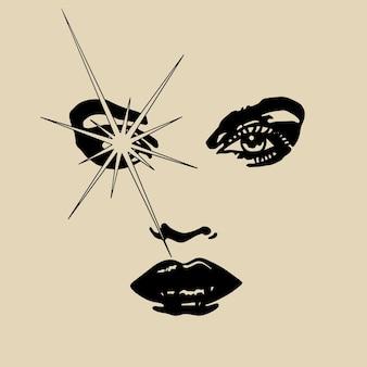 Femme vision oeil main dessin illustration