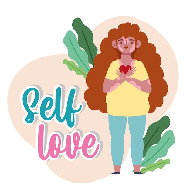 Femme avec vitiligo et coeur en mains personnage de dessin animé auto amour illustration