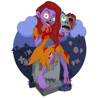 Femme zombie s'asseoir dans la pierre tombale