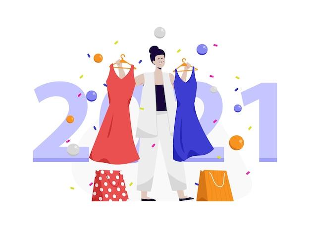 Femmes achetant une robe pour la fête du nouvel an