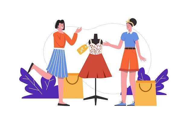 Les femmes achètent ensemble des vêtements en magasin. les acheteurs se tiennent près d'un mannequin de tenue à la mode, scène de personnes isolée. shopping, consumérisme, achat au concept de magasin. illustration vectorielle au design plat minimal