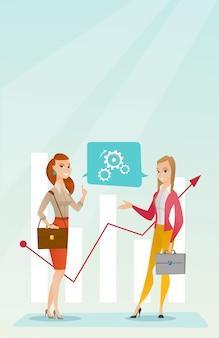 Femmes d'affaires analysant des données financières.