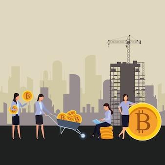 Femmes d'affaires détenant une crypto-monnaie