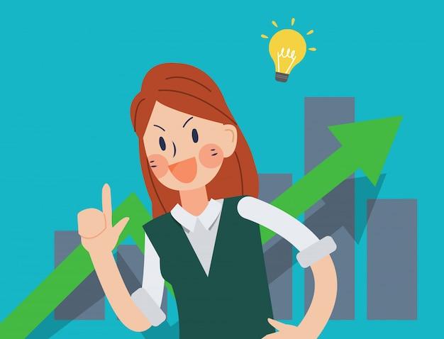 Les femmes d'affaires et graphique grandi