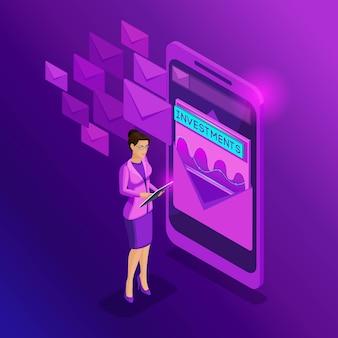 Les femmes d'affaires isométriques regardent la boîte de réception électronique comme un smartphone. parcourt le courrier, étudie les analyses, les rapports et les statistiques de communication. publicité par e-mail