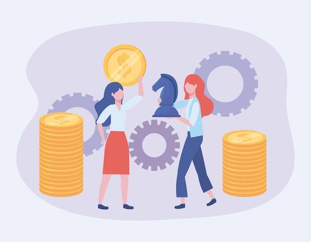Femmes d'affaires avec des pièces de monnaie et des échecs de cheval avec des engrenages