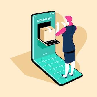 Les femmes d'affaires reçoivent le produit qu'elle a acheté sur les achats en ligne du commerce électronique