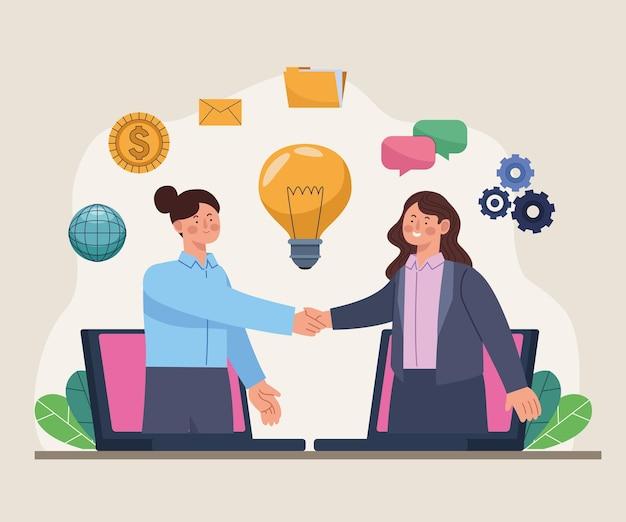 Les femmes d'affaires traitent la technologie en ligne