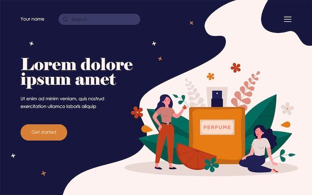Femmes appréciant le parfum, assises et debout près d'un flacon pulvérisateur de déodorant au parfum de fleur. illustration vectorielle pour arôme, parfumerie, concept de cosmétiques.