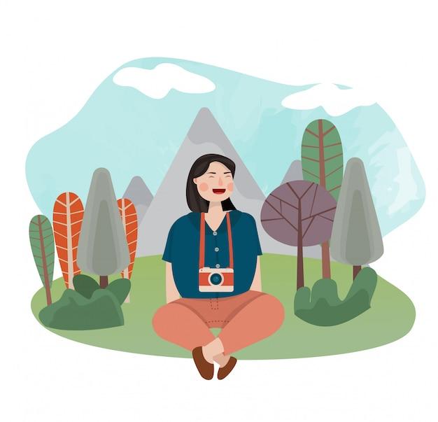 Femmes assises et heureux de profiter de la nature avec arbre et montagne derrière l'illustration vectorielle