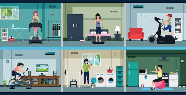 Les femmes au foyer font de l'exercice avec une salle de gym à domicile