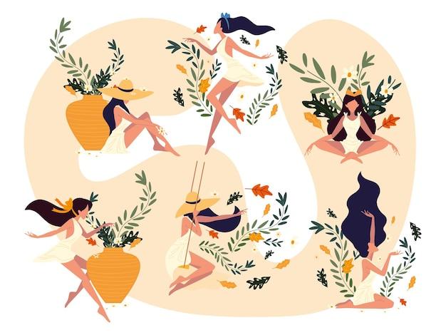 Femmes aux fleurs bien-être