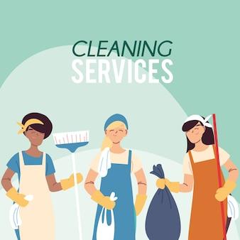 Femmes avec balais et uniforme pour le service de nettoyage desing illustration