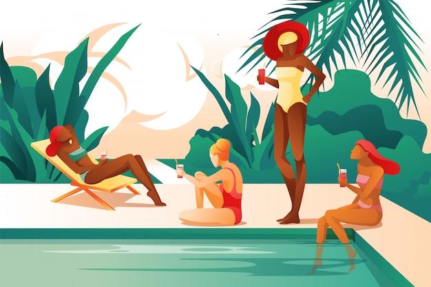 Femmes de bande dessinée près de la piscine boire un cocktail bronzer