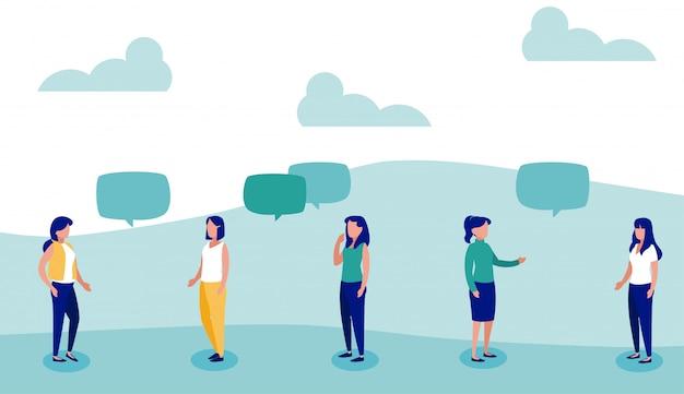 Femmes avec bulle de dialogue, distanciation sociale