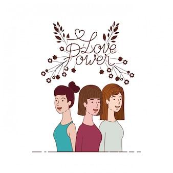 Les femmes avec le caractère d'amour de label label