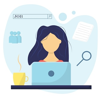 Les femmes cherchent du travail guy avec un ordinateur portable concept de recherche d'emploi