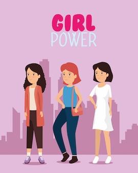 Femmes avec coiffure et message de puissance de fille