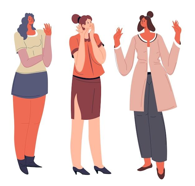 Femmes communiquant avec des gens agacés et heureux