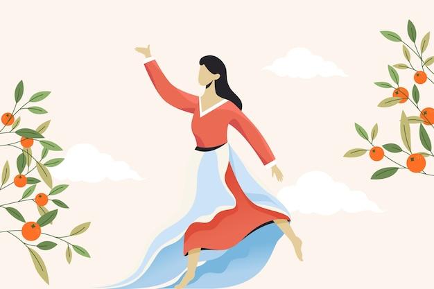 Femmes coréennes dansant dans le jardin pour célébrer la journée chuseok. illustration plate.