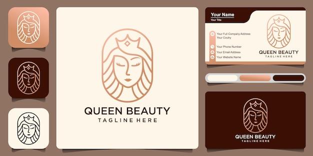 Femmes et couronne de combinaison de beauté de reine avec le modèle de conception de logo de carte de visite