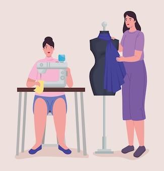 Femmes de créateurs de vêtements avec machine