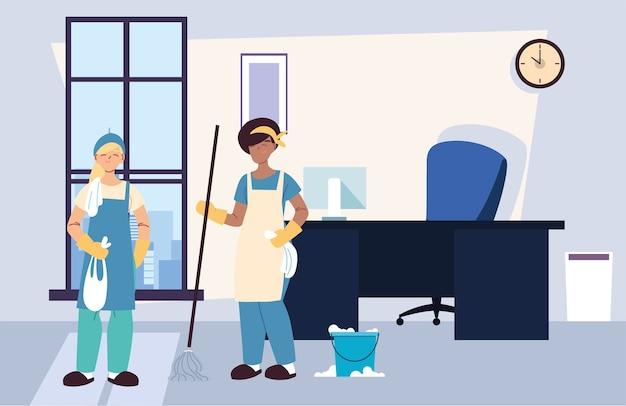 Les femmes dans la conception d'illustration de l'entreprise de services de nettoyage