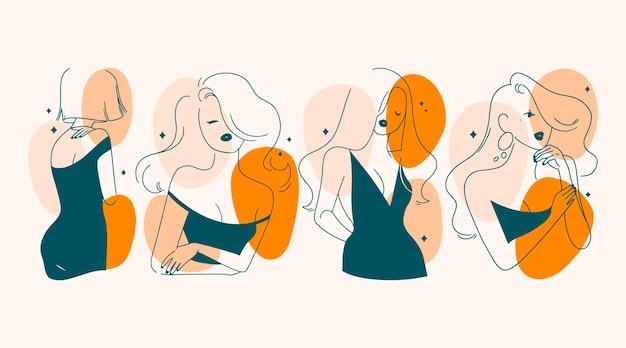 Femmes dans un style d'art en ligne élégant illustré