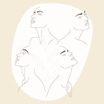 Femmes dans un style d'art en ligne élégant