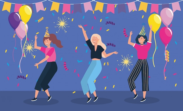 Femmes dansant en fête et ballons