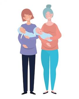 Femmes debout avec un nouveau-né dans ses bras