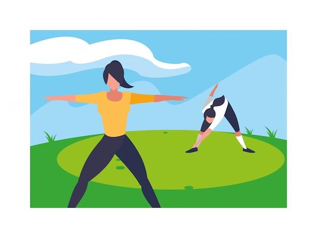 Femmes, dehors, pratiquer, yoga, à, paysage