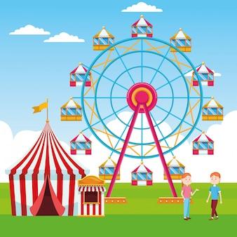 Femmes dessin animé à la foire avec grande roue et tente de carnaval