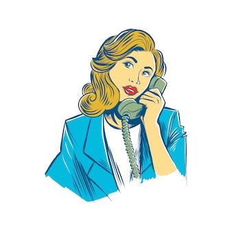 Femmes dessinées à la main sur le téléphone rétro