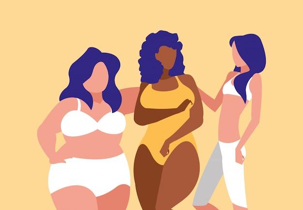 Femmes de différentes tailles et races modelant des sous-vêtements