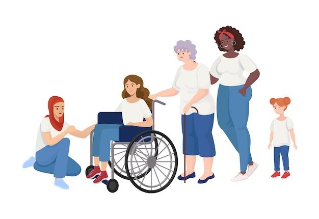 Femmes de différents âges et rases debout ensemble