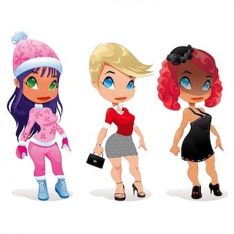 Les femmes avec différents vêtements