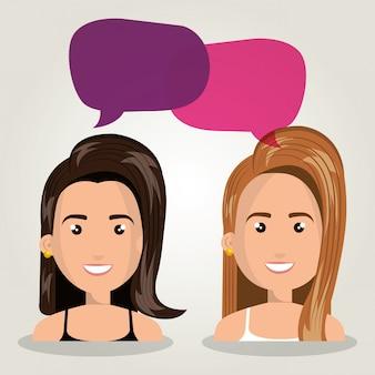 Femmes discutant dialogue isolé